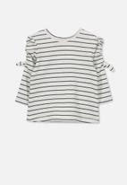 Cotton On - Giselle long puff sleeve tee - white & navy