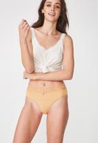 Cotton On - High waist lace trim cheeky brief - tan