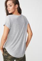 Cotton On - Karly summer short sleeve v-neck top - grey