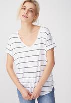 Cotton On - Karly summer short sleeve v-neck top - white & black