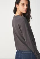 Cotton On - Tbar Tammy summer chopped long sleeve tee - charcoal