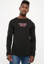 basicthread - Printed crew neck tee - black