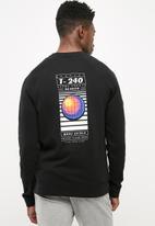 basicthread - Printed pullover crew sweat - black