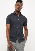 New Look - Muscle poplin polka dot shirt - navy