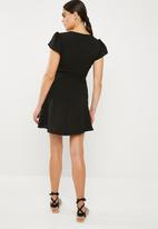 Superbalist - Fit and flare button through dress - black