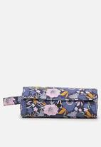 Cotton On - Roll up brush cos case - wild floral blue