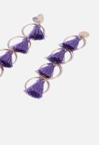 Superbalist - Four tier tassel hoop earrings - purple & gold