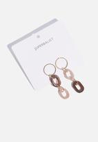 Superbalist - Double drop link earrings - brown & gold