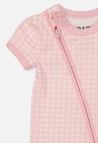 Cotton On - Mini short sleeve zip through rom - pink & white