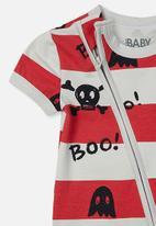 Cotton On - Mini short sleeve zip through romper - grey & red