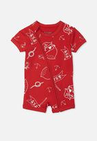 Cotton On - Mini short sleeve zip through romper - red