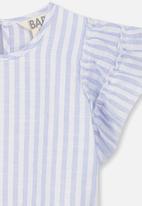 Cotton On - Blair flutter top - blue & white