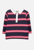 Cotton On - Cohen rugby top - navy & red