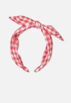 Cotton On - Printed bow headband - pink & white