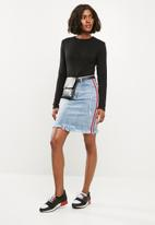 Superbalist - High waisted denim skirt with side stripe - blue