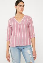 Superbalist - V-neck shirt - pink & white