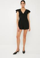 Superbalist - Flutter sleeve formal playsuit - black