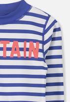 Cotton On - Fraser long sleeve rash vest - blue & white