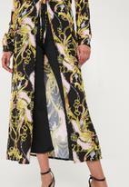 Missguided - Chain print maxi kimono - pink & yellow