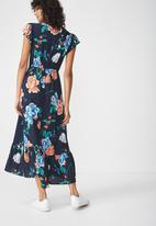 Cotton On - Woven summer flora v neck maxi dress -  navy