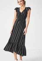 Cotton On - Woven summer flora v neck maxi dress - black & white