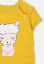 Cotton On - Mini short sleeve bubbysuit - yellow