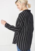 Cotton On - Monique shirt stella stripe - black & white