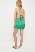 Missguided - Fringe 90s neck playsuit - green