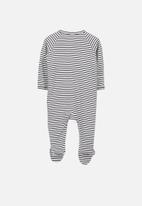 Cotton On - Long sleeve zip through romper - cream & navy