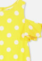 Cotton On - Ruby cold shoulder dress - yellow