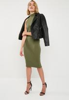 Missguided - High neck bust cup bodycon midi dress - olive