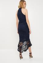 Missguided - Lace high neck fishtail midi dress - navy