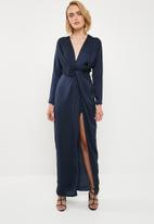 Missguided - Wrap front maxi dress - navy