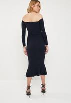 Missguided - Bardot fishtail hem dress - navy