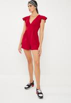 Superbalist - Flutter sleeve formal playsuit - red