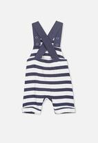 Cotton On - Timmy short leg all in one  - navy & white stripe