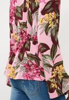 Missguided - Drape front plunge blouse tropical - multi