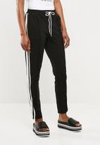 Missguided - Side stripe joggers - black