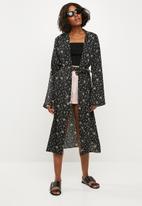 Missguided - Long sleeve duster jacket - black