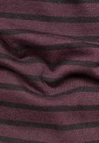 G-Star RAW - Starkon stripe tee - maroon & black