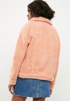 Missguided - Borg trucker jacket - pink