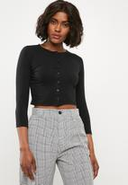 Missguided - Button front long sleeve crop top - black