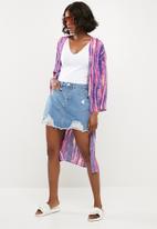 Missguided - Ripped denim mini skirt - blue