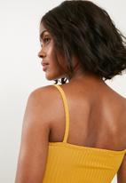 Missguided - Strappy square neck bodysuit - yellow