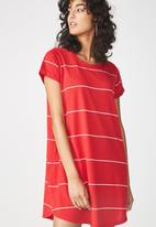 Cotton On - Tina summer T-shirt dress - red & white