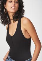 Cotton On - Abbie summer henley scoop sleeveless bodysuit - black