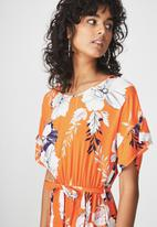 Cotton On - Woven summer wrap dress - orange