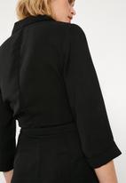 Missguided - Wrap tux playsuit - black