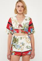 Missguided - Tie front floral top - multi