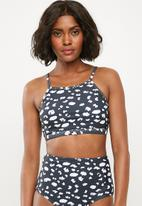 Superbalist - Bikini crop top - black & white